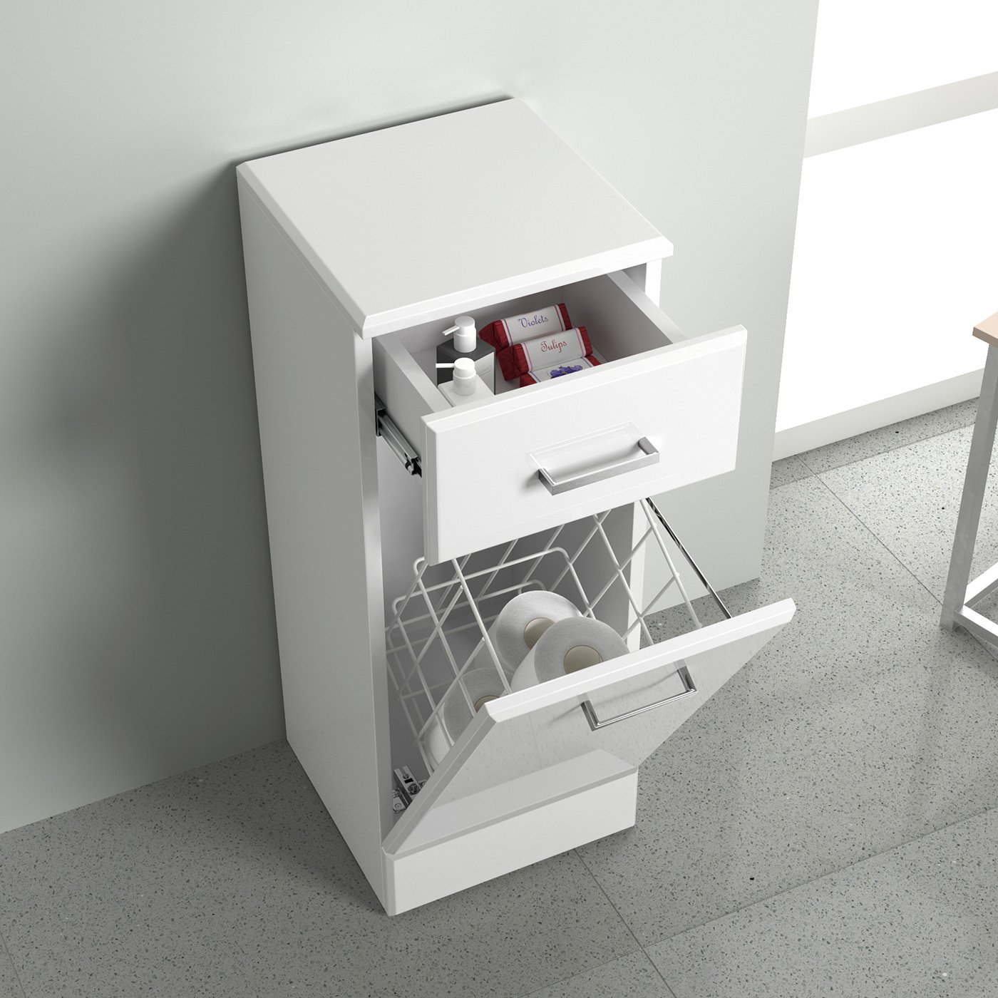 300mm White Gloss Bathroom Laundry Basket Cupboard Drawer Storage Furniture Unit iBathUK