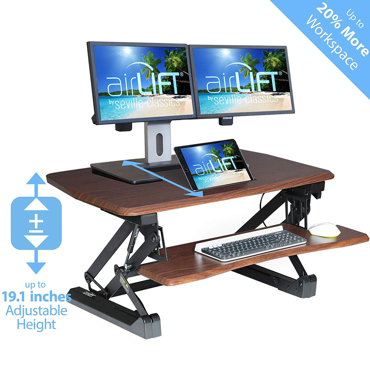 Seville Classics AIRLIFT 36'' Gas-Spring Height Adjustable Standing Desk Converter Workstation Ergonomic Dual Monitor Riser with Keyboard Tray and Phone/Tablet Holder, Walnut by Seville Classics