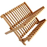 7Trees&Reg; Folding 2-Tier Bamboo Dish Drying Rack