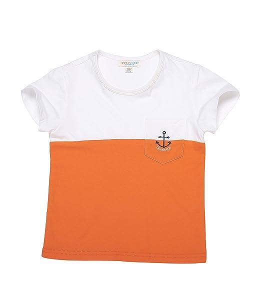 Oceankids Niñass 100% Camiseta de algodón orgánico de algodón suave O-Collar bicolores con