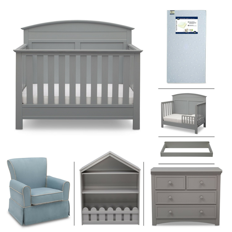 Serta Ashland 7-Piece Nursery Furniture Set with FREE Baby Monitor (ships separately) (Convertible Crib, Toddler Rail, 4-Drawer Dresser, Changing Top, Bookcase, Crib Mattress and Glider) (Grey)
