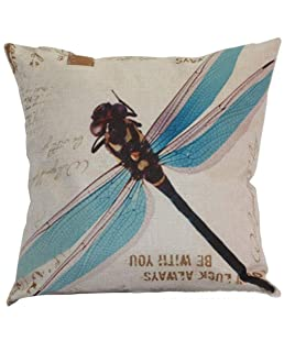Crystal Emotion Dragonfly Good Luck Always BE You Blue Throw Pillow Indoor Cover Pillow Case for Home Sofa Car Office 18x18inch