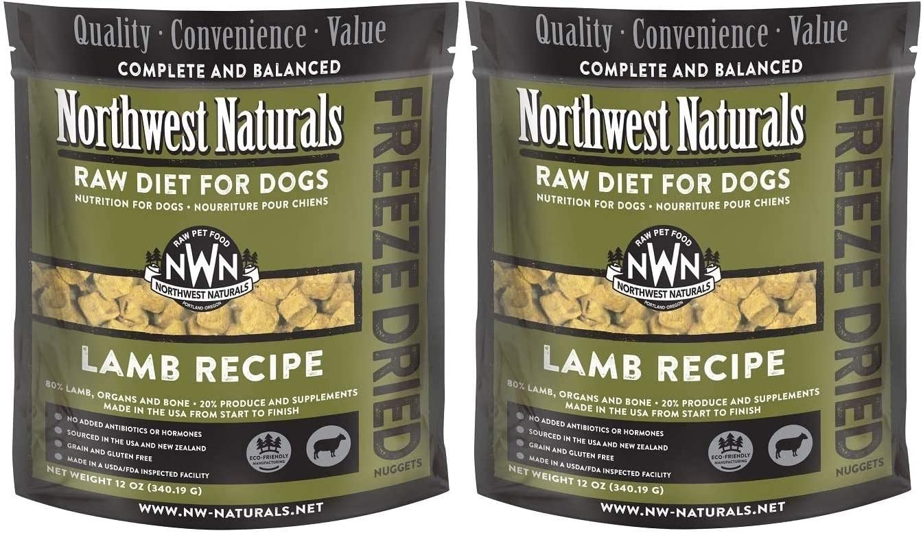 Northwest Naturals 2 Pack of Freeze Dried Raw Diet for Dogs, Lamb Recipe, 12 Ounces Per Pack