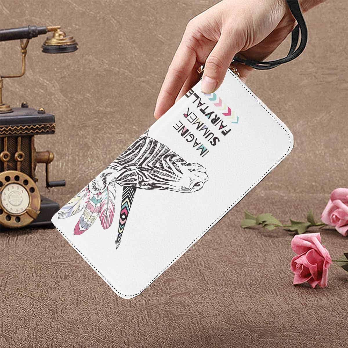 InterestPrint Womens Zig Zag Pattern on Floral Chevron Ornamen Clutch Purse Card Holder Organizer Ladies Purse