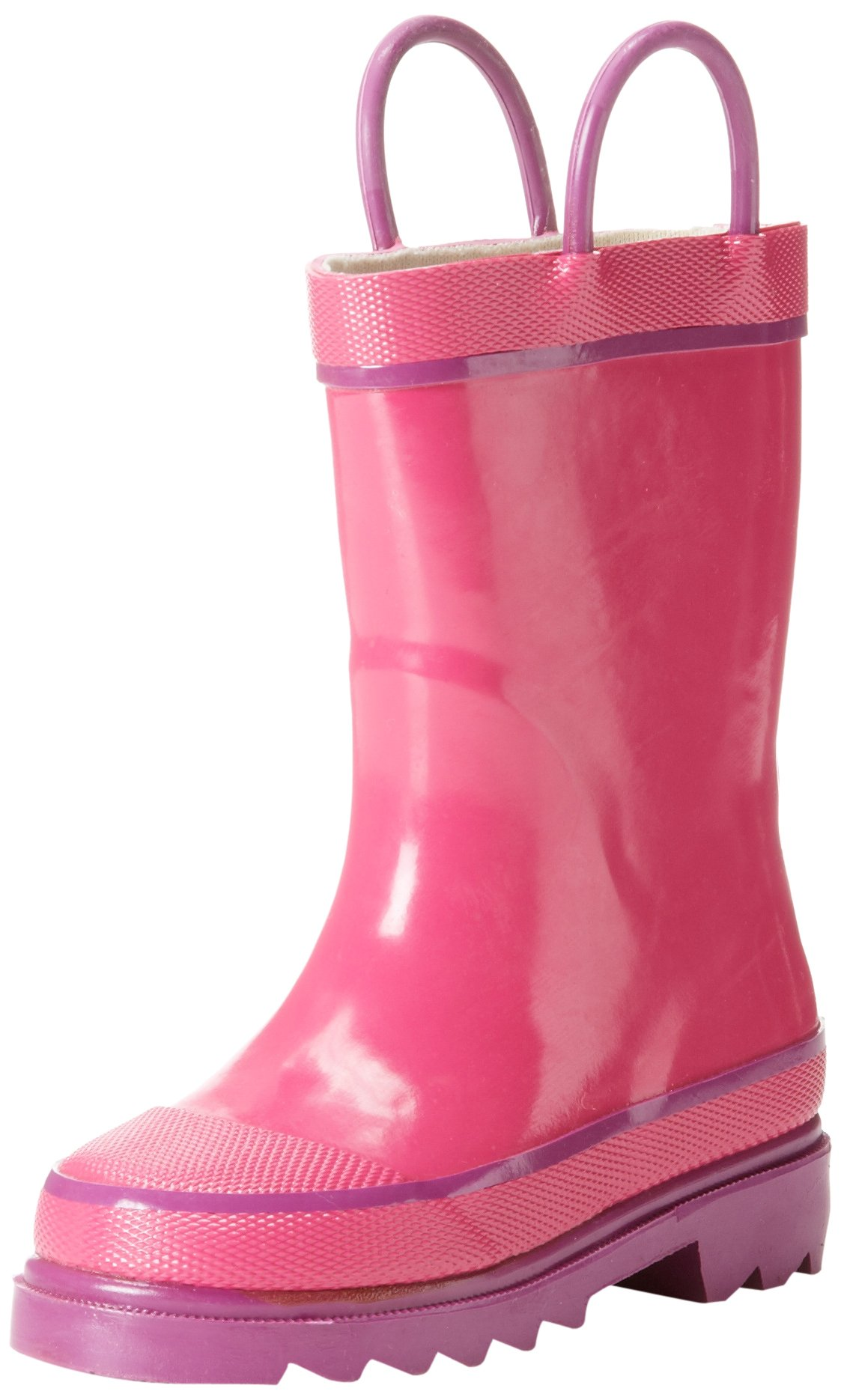 Western Chief Kids Waterproof Rubber Classic Rain Boot with Pull Handles, Pink, 9 M US Toddler