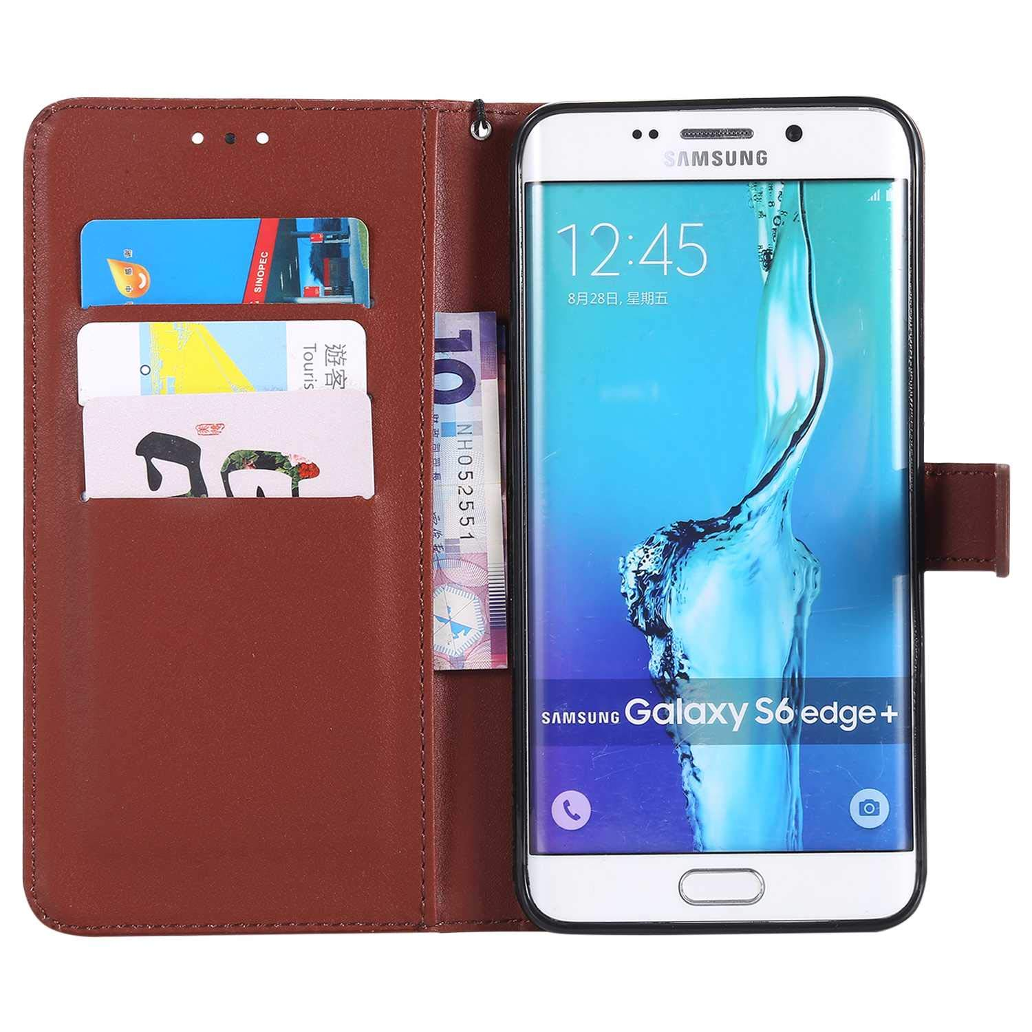 UNEXTATI Galaxy S6 Edge Plus Case, Leather Magnetic Closure Flip Wallet Case with Card Slot and Wrist Strap, Slim Full Body Protective Case (Brown #6) by UNEXTATI (Image #2)