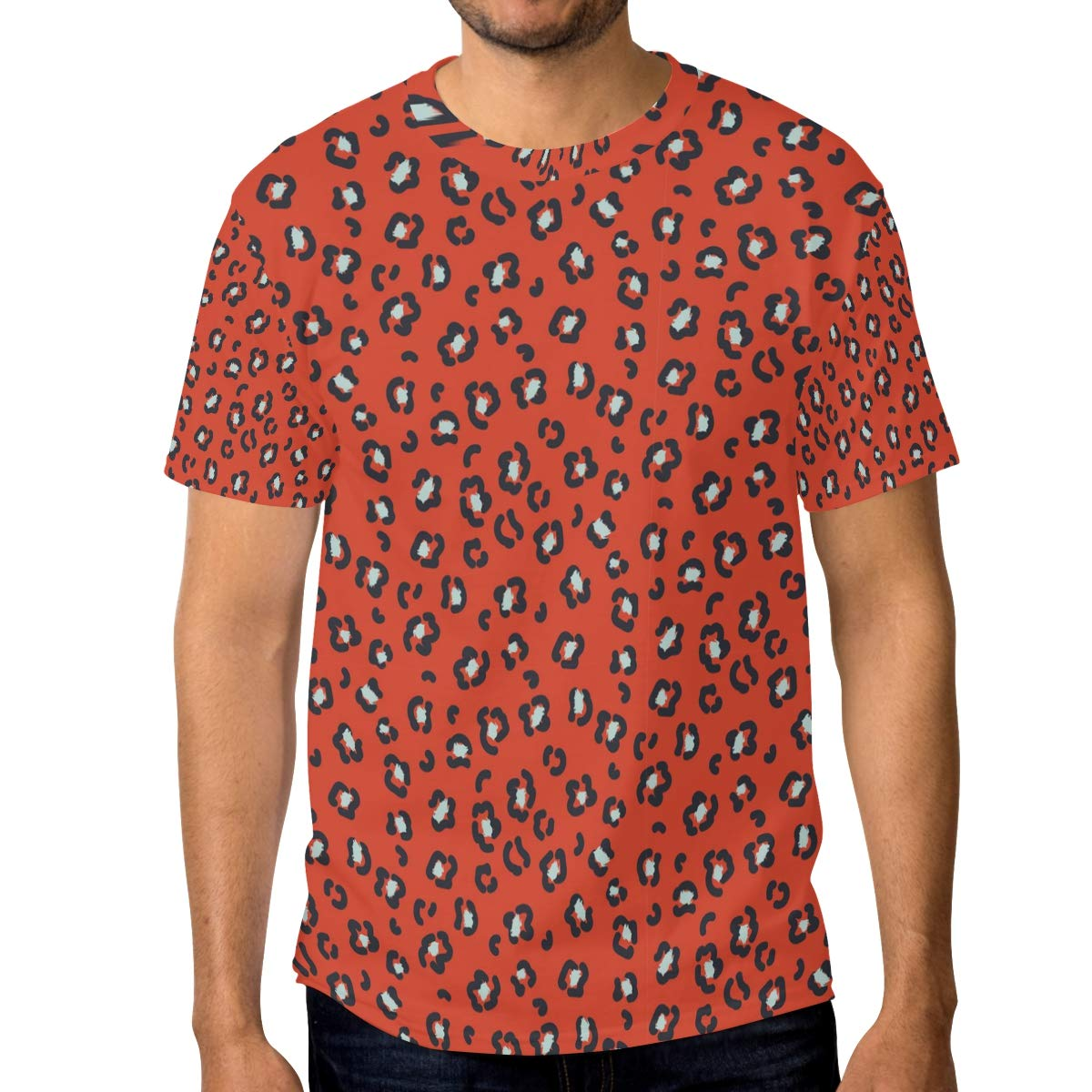 Red Circle Leopard Print Mens T Shirts Graphic Funny Body Print Short T-Shirt Unisex Pullover Blouse