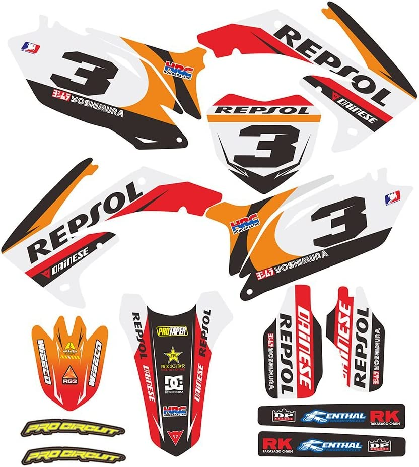 Jfgracing Custom Motorrad Komplettkleber Aufkleber Aufkleber Grafik Kit Für Honda Crf250r 10 13 Crf450r 09 12 Auto
