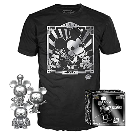 df7934a66 3 Pack & Tee: Disney - Mickey's 90th T-Shirt and Silver Steamboat Willie,  Conductor, and Apprentice, Amazon Exclusive, Size XL: Toys & Games