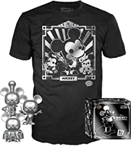 Funko Pop! 3 Pack & Tee: Disney - Mickey's 90th T-Shirt & Silver Steamboat Willie, Conductor, & Apprentice, Size X-Small, Multicolor