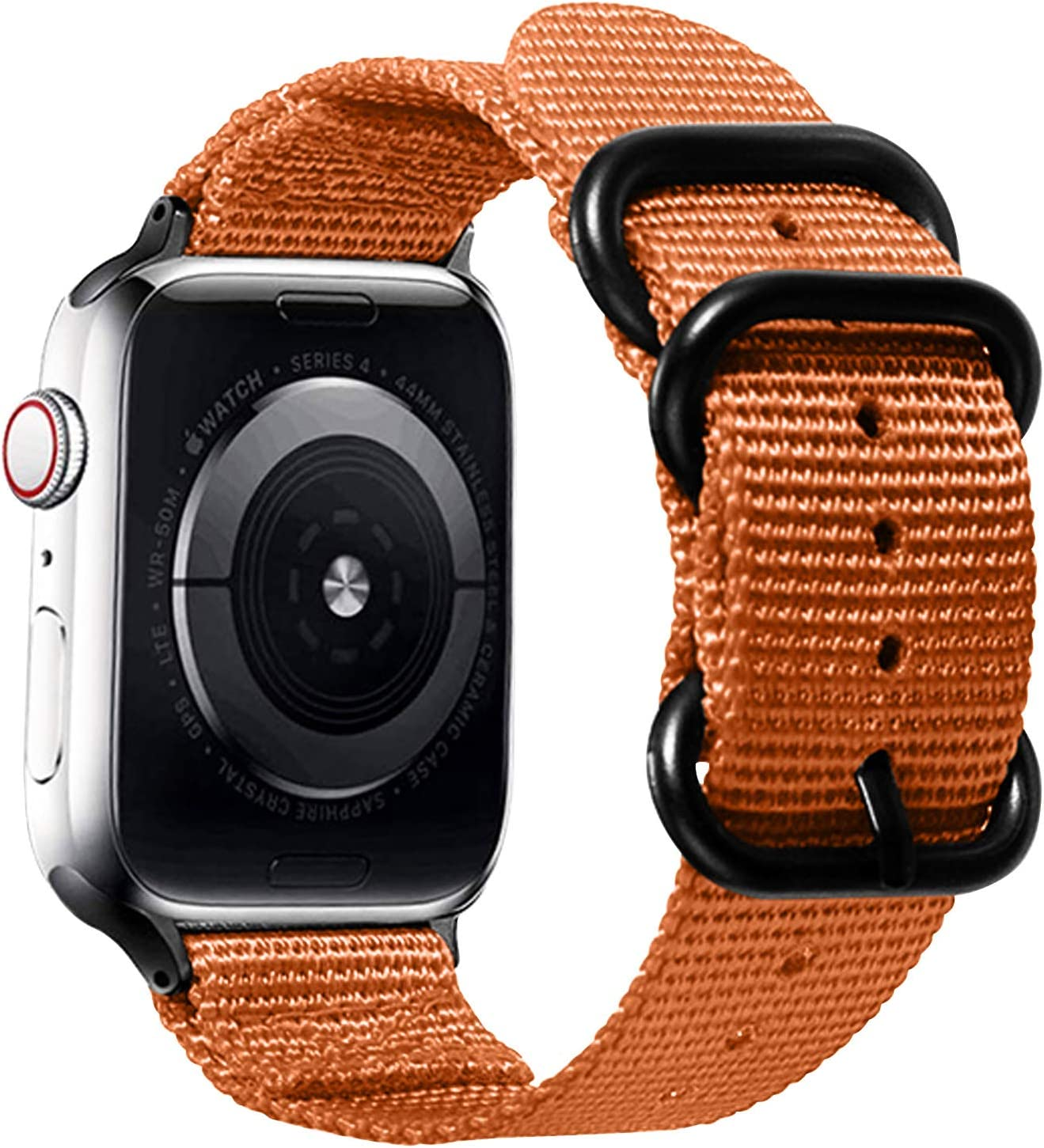 Watpro Compatible with Apple Watch Band 38mm 40mm 42mm 44mm Women Men Nylon Rugged Replacement iWatch Band Military-Style Buckle Grey Adapters for Sport Series 5 4 3 2 1 (1-Orange, 42MM/44MM)