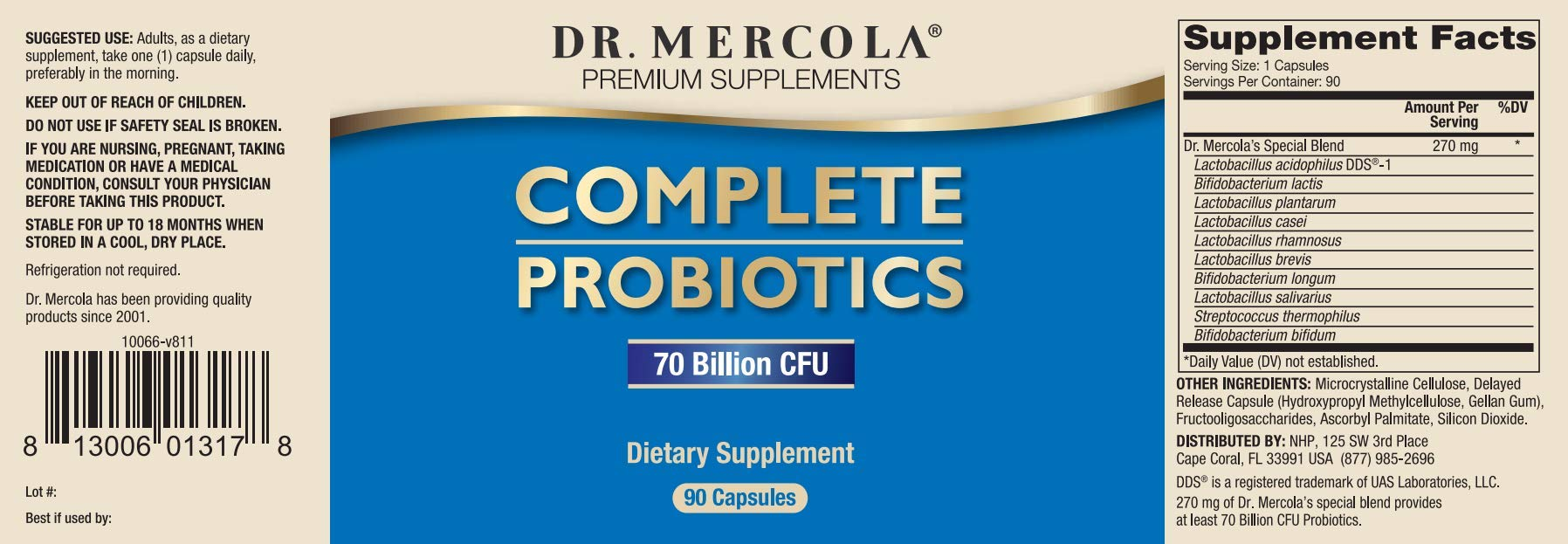 Dr. Mercola Complete Probiotics 180 Ct - 90 Servings- Twice Daily Probiotic Supplement - 70 Billion CFU - Acid & Bile Resistant - Promotes Digestive Health and Supports Immune System