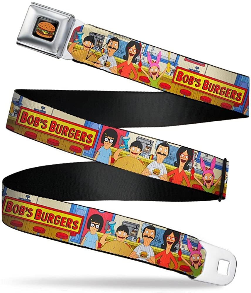Bobs Burgers Belcher Family Group Pose at Restaurant Counter Tans Buckle-Down Mens Seatbelt Belt Kids 1.0 Wide-20-36 Inches