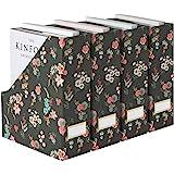 Blu Monaco Foldable Magazine File Holder with Gold Label Holder - Set of 4 Cardboard Magazine Organizers and Storage…