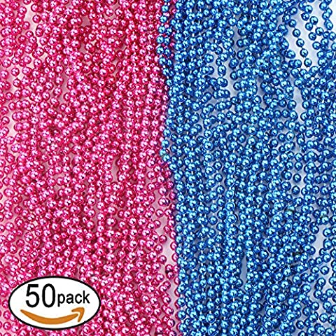 SOTOGO 50 Pcs Baby Gender Reveal Beads For Baby Shower Announcement Party 4mm Round 30 Inch - Baby Blue Beads