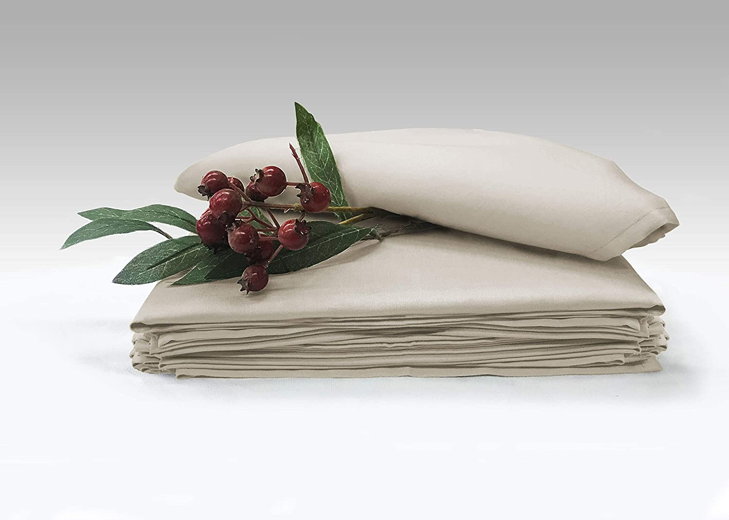 Amazon Com Pizuna Soft Absorbent Cotton Cloth Small Dinner Napkins Beige 6pc 14 Inch X 14 Inch 100 Long Staple Cotton Sateen Weave Hemstitched Lunch Napkins 100 Cotton Taupe Sapphire Napkins Home Kitchen