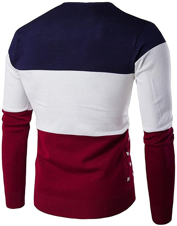 Kaured Stylist Mens Slim Color Block Warm Knit Wool Pullover Sweater