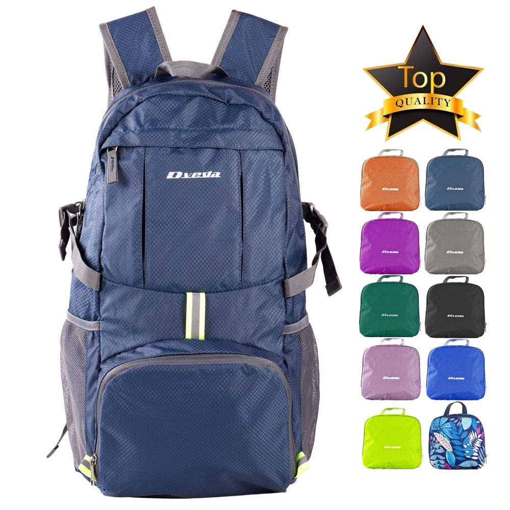 Dveda Ultra Lightweight Packable Backpack, 35L Large Capacity Water Resistant Hiking Daypack Foldable Travel Backpack for Men Women Outdoor,Navy by DVEDA