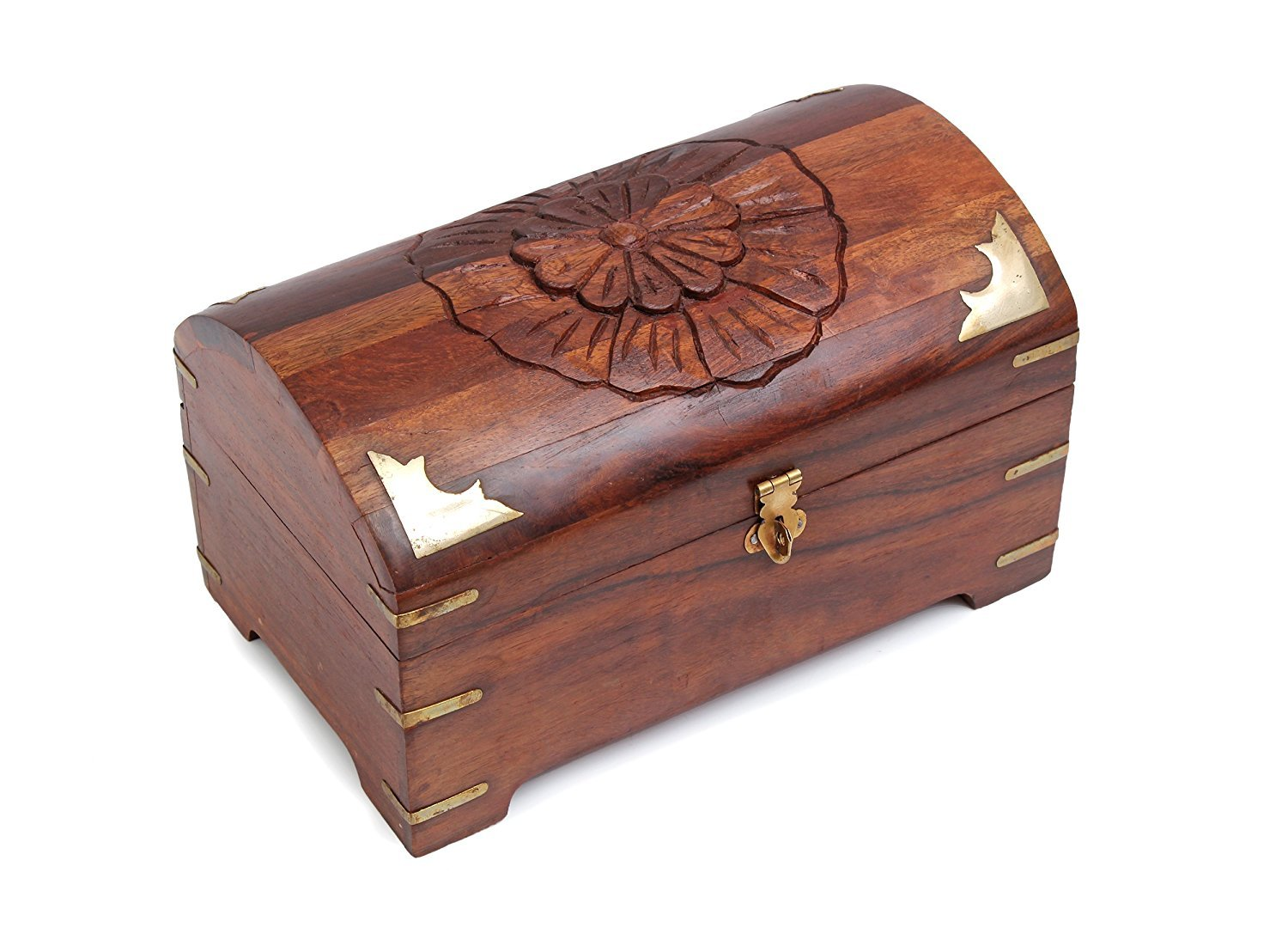 Decorative Wooden Jewelry Trinket Box Chest Organizer Handcrafted Keepsake Storage Box 9 x 5.5 inches by Aheli