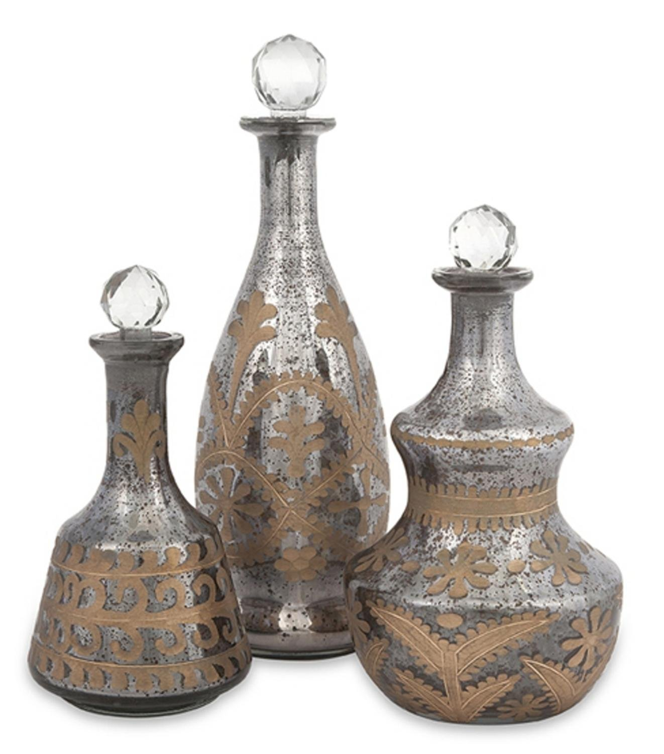 Set of 3 Contemporary Emery Smoky Gray Etched Mercury Glass Decanter Bottles