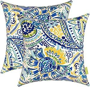 LVTXIII Outdoor Throw Pillow Covers 17 x 17 Inch, Modern Paisley Pattern Decorative Square Toss Pillow Case Pack of 2 for Home Patio Garden Sofa Bed Furniture, Paisley Baltic
