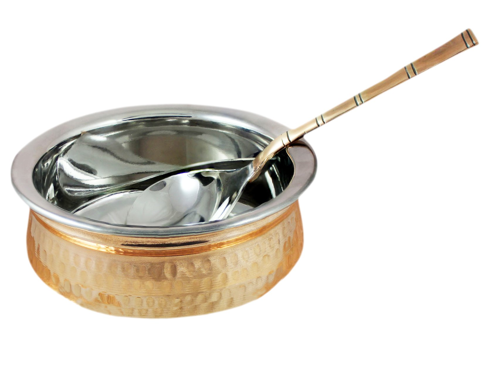 Copper Stainless Steel 34 OZ Serving Bowl with Spoon for Ice Cream, Noodles, Salad, Cereal, Rice, Pasta, Fruit, Dessert, Handmade Hammered Style Heat Insulated Double Walled Multipurpose Bowl, 7 Inch
