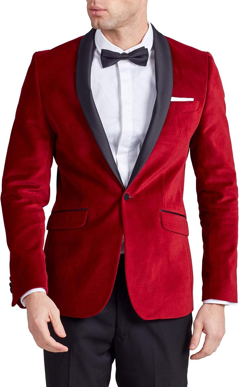 Dobell Mens Red Velvet Tuxedo Jacket Regular Fit Contrast Shawl Lapel