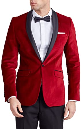 c679790d58a Dobell Mens Red Velvet Tuxedo Jacket Regular Fit Contrast Shawl Lapel-52R
