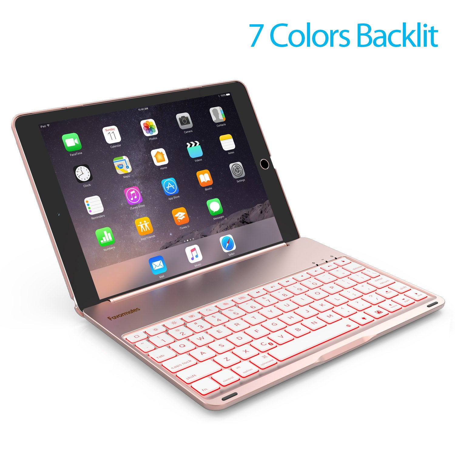 Keyboard Case Compatible with iPad PRO 9.7 Inch/iPad Air 2-LED 7 Colors Backlit Bluetooth Keyboard with 130° Folio Hard Back Cover, Aluminum Alloy- (for iPad Model: A1566/A1567/A1673/A1674)