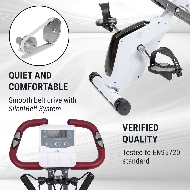 Klarfit X-Spline /• Heimtrainer /• Magnetwiderstand in 8 unterschiedlichen Stufen /• Flexible Zugb/änder /• Riemenantrieb /• SmartCardio Studio Tablet-Halterung /• Pulsmesser /• faltbar /• wei/ß oder schwarz