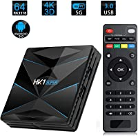 HK1 Super Smart TV Box Android 9.0 RK3318 Quad Core Android TV Box 2.4G/5G Dual WiFi USB3.0 BT4.0 4K H.265 UHD Android Media Player