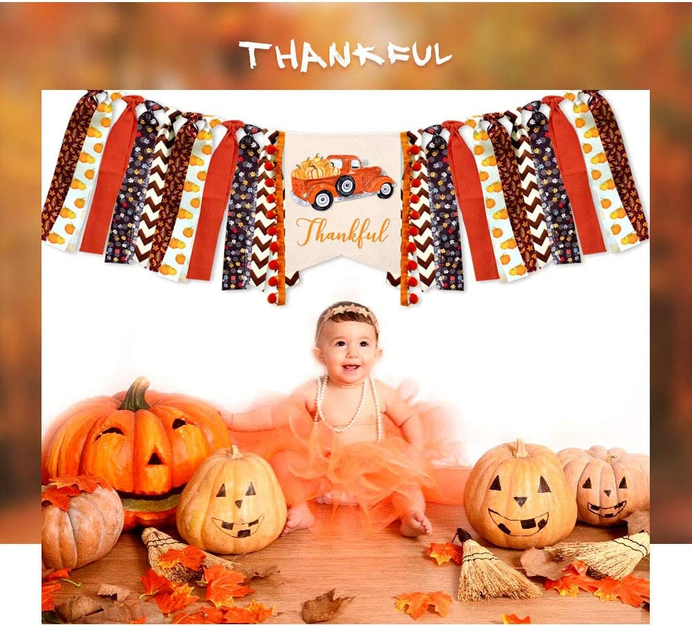 Smile Pumpkin Birthday Paper Hat Gold Shiny One Pumpkin Cake Topper Thankful Banner Fall Autumn Our Little Pumpkin 1st Birthday Decoration Pack Pumpkin Highchair Banner Burlap Thankful Banner