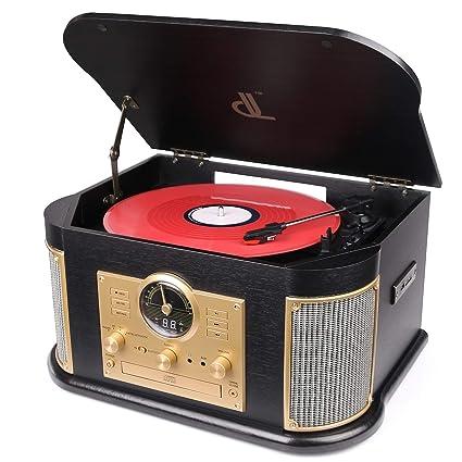 Giradiscos de dl Tocadiscos de Vinilo Vintage Turntable Madera Vinilo Vintage 7 en 1 con Bluetooth.FM,Altavoces Estéreo Incorporados, ...