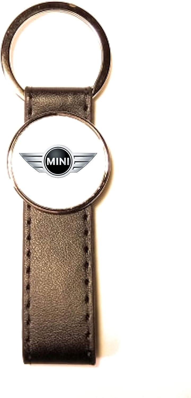 Porte-cl/és Acier//Simili Cuir Classic Circle Mini Cooper Blanc