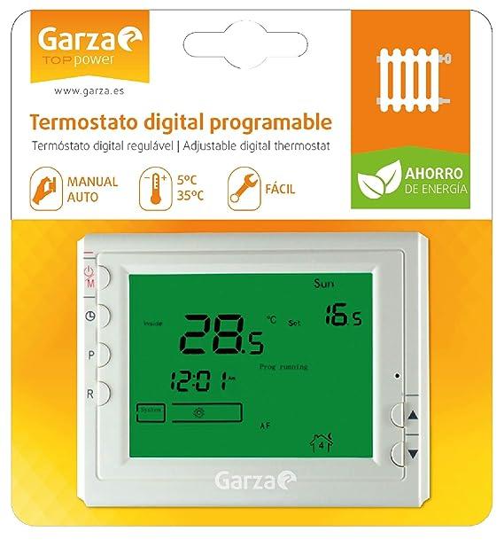 Garza 400606 Crono termostato Digital programable, Blanco: Amazon ...