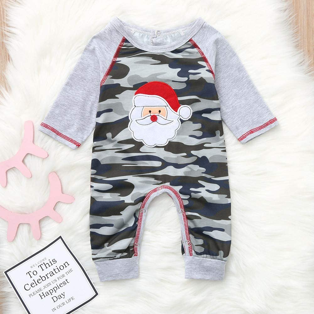 Christmas Newborn Baby Kids Girl Boy Romper Jumpsuit Playsuit Outfits Clothes US