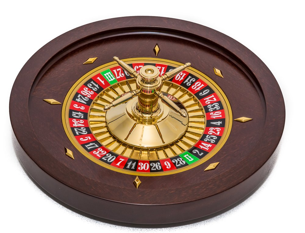 Bello Games Collezioni - Bello Professional 24K Gold Plated-Solid Mahogany Roulette Wheel from Italy 21 5/8''