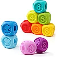 Apartner Soft Building Blocks for Baby, 10-Pack Multi-Functional Squeeze Teether Toys for Infants Educational Puzzle, Colorful Bath Toy Set for 3-24 Months Babies