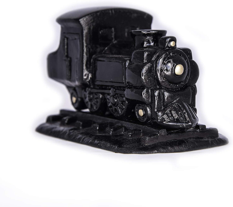Incienso de Santa Fe – Black Steam Engine Natural Wood Incense Burner, Includes 20 Piñon Incense Bricks