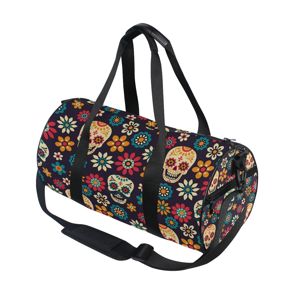 ALAZA Sugar Skull Daisy Flower Travel Duffel Bag Sport Gym Luggage Bag for Men Women g4142094p197c231s330