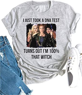 Its Just A Bunch of Hocus Pocus T-Shirt Women Funny Halloween Shirt Sanderson Witchs Hat Graphic Tee Tops
