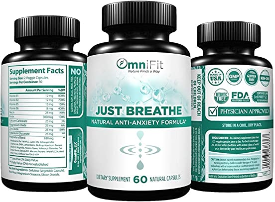 Premium 100 All Natural Soothing Stress Relief Support Supplement – JUST Breathe – Extra Strength Serotonin Support Ashwagandha, Chamomile, Valerian Root, More – 60 Veggie Caps
