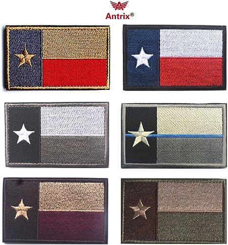 Antrix Bundle 6 piezas tácticas de la bandera del Estado de los Estados Unidos de Texas parche de velcro gancho & Loop bordado militar americano Texas Morale parche etiquetas – 3,15