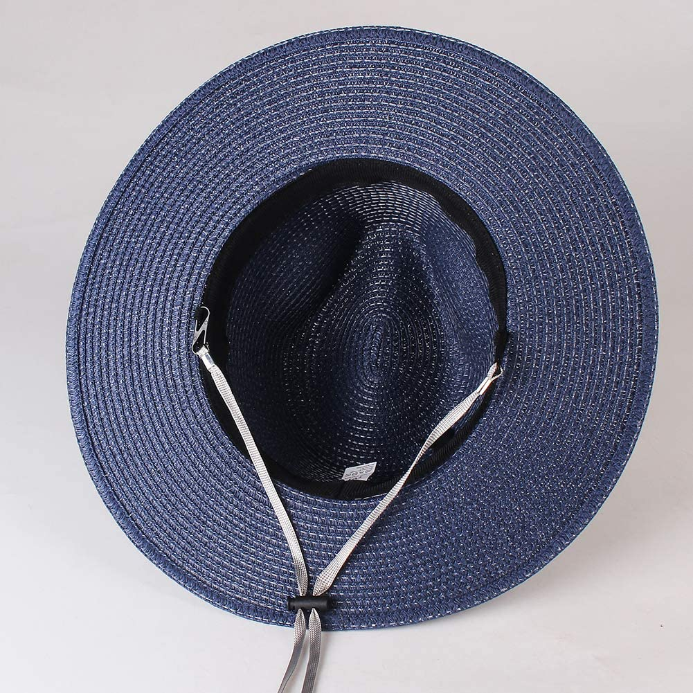 Womens Mens Wide Brim Straw Panama Hat Fedora Summer Beach Sun Hat UPF