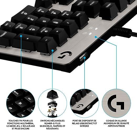 Logitech G413 - Teclado mecánico para gaming, color Plateado (Silver) - Azerty Distribución: Amazon.es: Informática