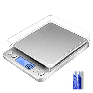 Digital Food Kitchen Scale Upgraded,YONCON 500g/0.01g High Accuracy Multifunction Scale Measures in Grams and oz for Cooking, Baking, Jewelry, Tare Function,2 Trays, LCD Display (Batteries Included)