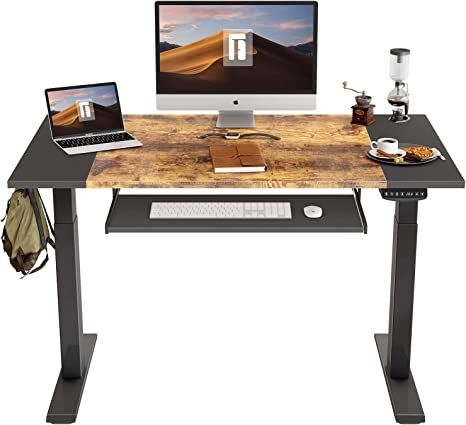 Black Frame//Dark Rustic Brown Top 48 x 24 Inches FEZIBO Electric Height Adjustable Standing Desk