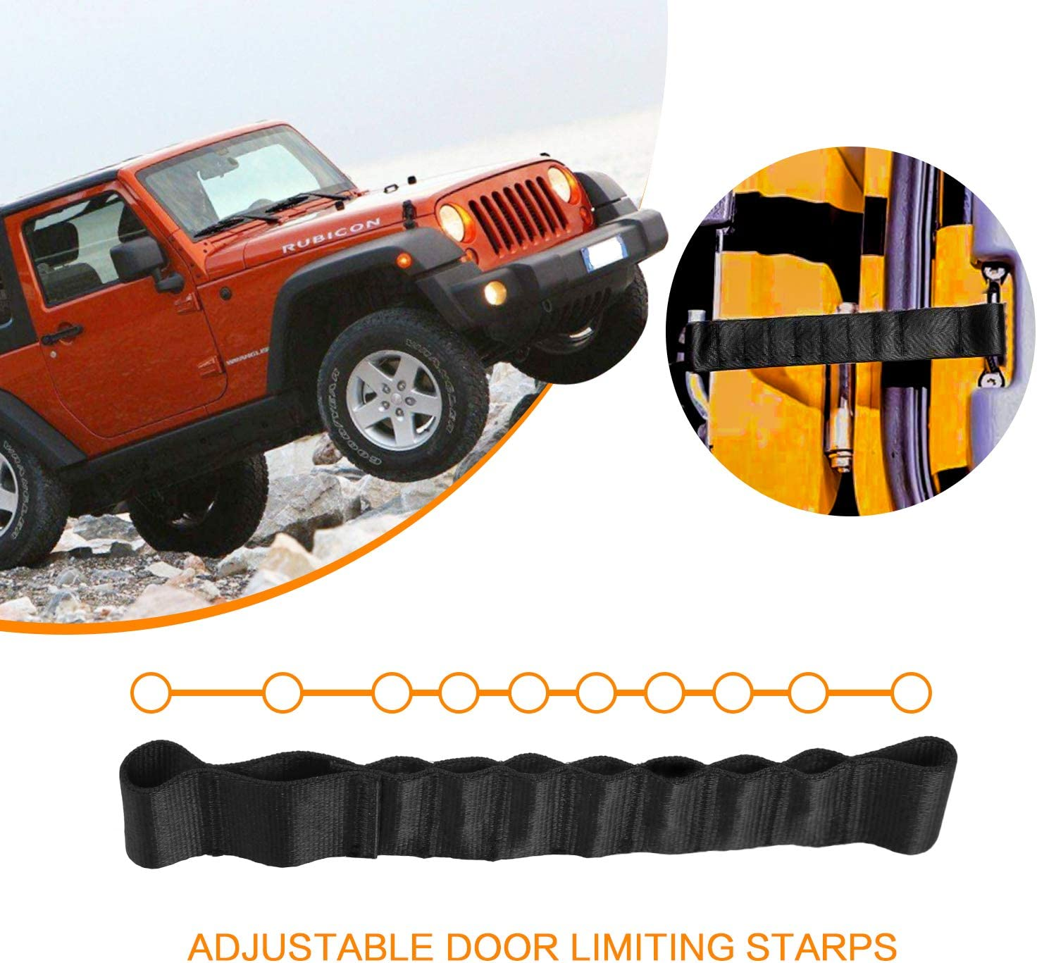 2 PCS Jeep Wrangler Door Limiting Straps Jeep Wrangler Adjustable Check Jeep Door Straps for 2007-2018 Jeep Wrangler JK
