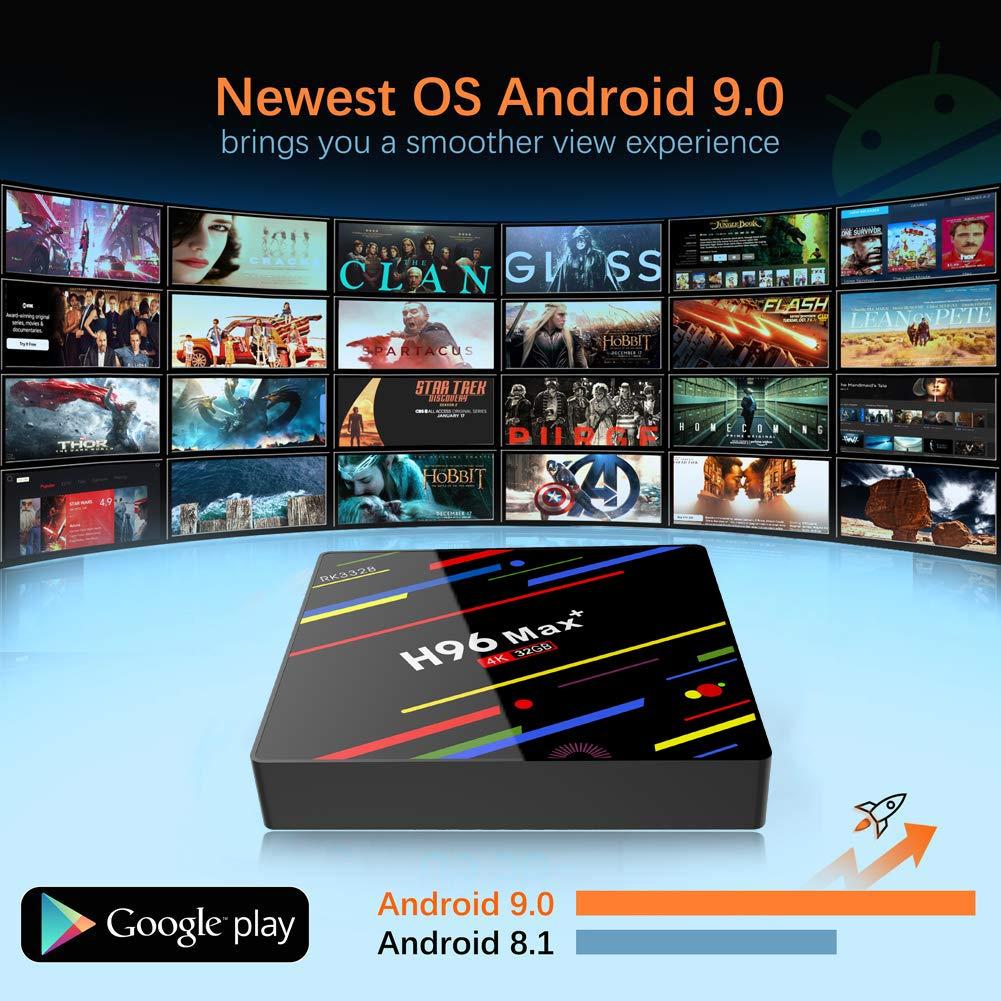 Support 2.4GHz//5GHz Dual WiFi 4K Ultra HD H.265 USB3.0 BT4.0 3D H96 Max 4GB DDR3 64GB ROM RK3328 Quad-Core 64bit CPU Android 9.0 TV Box