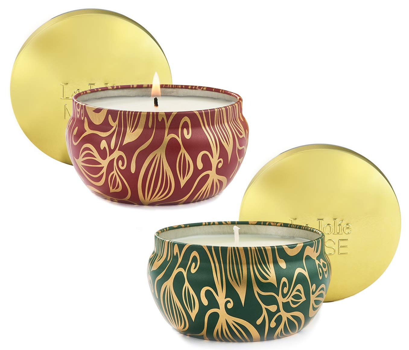 LA JOLIE MUSE Scented Candles Set 2 Pumpkin Cinnamon& Cedarwood Fir, Natural Soy Wax, Fall Winter Gift Collection by LA JOLIE MUSE